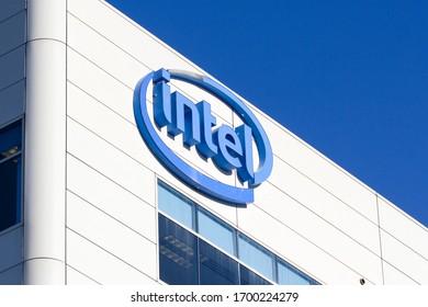 Santa Clara, CA, USA - Feb 26, 2020: The Intel logo is seen at Intel's headquarters in Santa Clara, California, United States.