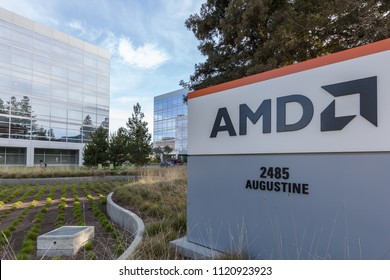 Santa Clara, CA, USA - March 30, 2018: Sign of AMD at headquarters in Santa Clara, CA, USA. Advanced Micro Devices, Inc. (AMD) is an American multinational semiconductor company.
