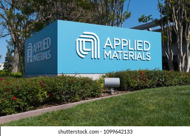 Santa Clara, California - April 26, 2018:  Applied Materials offices in Silicon Valley. Applied Materials is American company that supplies equipment and services for semiconductor chip manufacturers