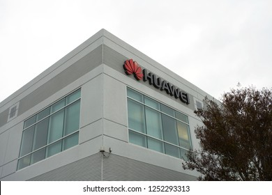 Santa Clara, California - Dec 5, 2018: Huawei logo on the office building at Huawei Technologies computer networking center in Santa Clara.