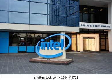 Santa Clara, California - Dec 5, 2018: The Intel sign located in front of the Intel Museum at Intel's headquarters in the Silicon Valley.