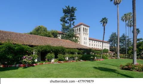 SANTA CLARA, CALIFORNIA - JULY 26: Nobili Hall on the campus of Santa Clara University on El Camino Real on July 26, 2016 in Santa Clara, California