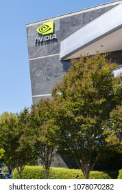 Santa Clara, California, USA - April 26, 2018: Sign of Nvidia on the building at Nvidia's headquarters in Silicon Valley. Nvidia Corporation is an American technology company