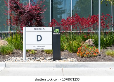 Santa Clara, California, USA - April 26, 2018: Logo of Nvidia at headquarters in Silicon Valley. Nvidia Corporation is an American technology company, Leader of Artificial Intelligence, 3D vision