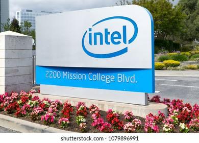 Santa Clara, California, USA -April 29, 2018: Sign of Intel at entrance worldwide corporate headquarters of Intel Corporation,
