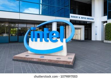 Santa Clara, California, USA -April 29, 2018: Sign of Intel at entrance of the Robert N. Boyce Building in Santa Clara, California, is the world headquarters for Intel Corporation.