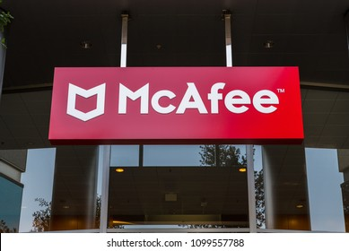 Santa Clara, California, USA - April 26, 2018: Signage with logo at the Silicon Valley headquarters of virus removal and cybersecurity company McAfee, Santa Clara, California.
