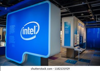 Santa Clara, California / USA - July 15, 2012:The Intel Museum located at Intel's headquarters in Santa Clara, California, has exhibits of Intel's products and history.