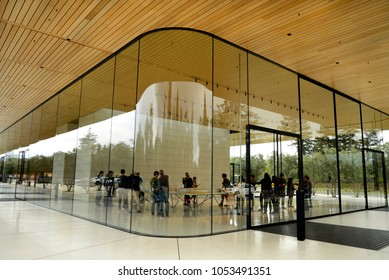 SANTA CLARA, CALIFORNIA, USA - March 24, 2018: The new Apple Park Visitor Center built outside the new Apple Technology Spaceship building in Santa Clara, California