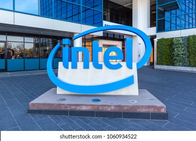 Santa Clara, California, USA - March 29, 2018: Sign of Intel at entrance of The Intel Museum in Silicon Valley. Intel is an American multinational corporation and technology company.
