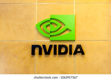 Santa Clara, California, USA - March 29, 2018: Sign of Nvidia at Nvidia's headquarters in Silicon Valley. Nvidia Corporation is an American technology company.