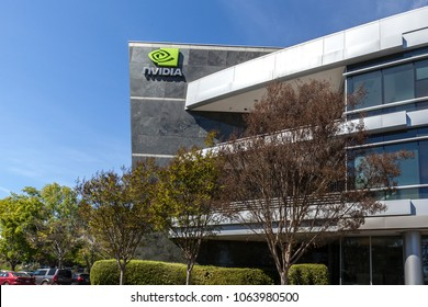 Santa Clara, California, USA - March 29, 2018: Sign of Nvidia on the building at Nvidia's headquarters in Silicon Valley. Nvidia Corporation is an American technology company.