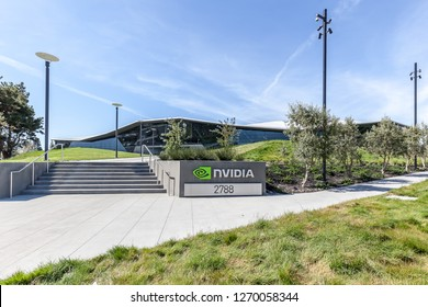 Santa Clara, California, USA - March 29, 2018: exterior view of Nvidia's new headquarters in Silicon Valley. Nvidia Corporation is an American technology company.