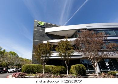 Santa Clara, California, USA - March 29, 2018: Nvidia's headquarters office in Silicon Valley. Nvidia Corporation is an American technology company.