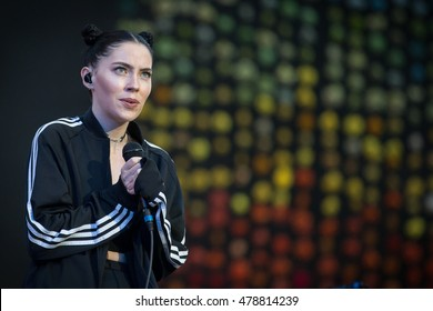 Santa Clara, CA/USA - 9/3/16: Sarah Grace McLaughlin known by her stage name Bishop Briggs opens for Coldplay in Santa Clara, CA at Levi's Stadium.