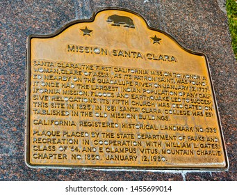 Santa Clara, CA/USA - Apr. 23, 2016: Marker, Mission Santa Clara. Mission Santa Clara de Asis is the 8th of the 21 missions established by the Spanish missionaries in the state of California.
