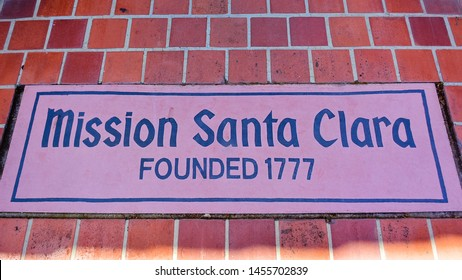 Santa Clara, CA/USA - Apr. 23, 2016: Sign, Mission Santa Clara. Mission Santa Clara de Asis is the 8th of the 21 missions established by the Spanish missionaries in the state of California.