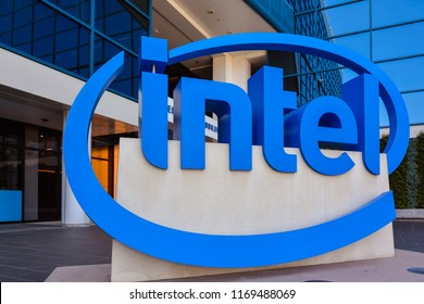 Santa Clara, CA/USA - Aug. 31, 2018: Giant 3-dimensional Intel Logo in front of the company's headquarters building.
