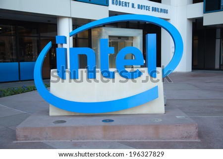 SANTA CLARA, CA/USA - JANUARY 04, 2014: Intel Sign at Corporate Headquarters. Intel is inventor of the x86 microprocessor, the processors found in most personal computers.