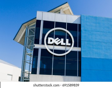 SANTA CLARA, CA/USA - JULY 29, 2017: Dell computer corporate facility and logo. Dell Inc. is a multinational computer technology company.
