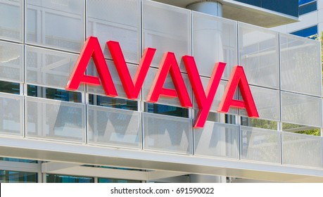 SANTA CLARA, CA/USA - JULY 29, 2017: Avaya corporate headquarters exterior and logo. Avaya is an American multinational technology specializing in voice data communication systems and services.