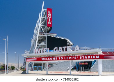SANTA CLARA, CA/USA - JULY 29, 2017: Levi's Stadium exterior logo and trademark. Levi's Stadium is a football stadium and home of the San Francisco 49ers of the National Football League.