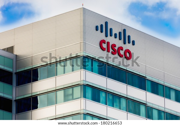SANTA CLARA, CA/USA - MARCH 1, 2014:  Cisco Facility in Silicon Valley. Cisco Systems, Inc. is an American corporation  that manufactures and sells computer networking equipment.