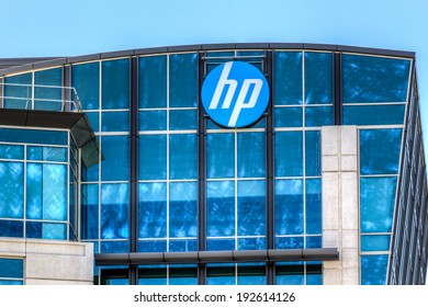 SANTA CLARA, CA/USA - MAY 11, 2014: Hewlett-Packard facility in Silicon Valley. HP is an information technology corporation that provides hardware and software and services.