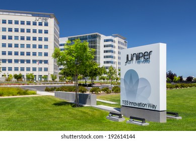SANTA CLARA, CA/USA - MAY 11, 2014:  Juniper Networks Campus in Silicon Valley. Juniper Networks, Inc. is an American manufacturer of networking equipment.