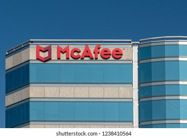 SANTA CLARA, CA/USA - OCTOBER 20, 2018: McAfee corporate headquarters building and trademark logo. McAfee is part of the Intel Security division.