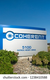 SANTA CLARA, CA/USA - OCTOBER 20, 2018: Coherent Silicon Valley corporate headquarters exterior and trademark logo. Coherent, Inc. designs, manufactures and markets industrial and scientific product.