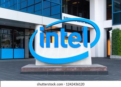 SANTA CLARA, CA/USA - OCTOBER 20, 2018: Intel corporate offices and trademark logo.