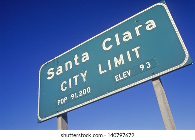 Santa Clara City Limit sign, Santa Clara, Silicon Valley, California