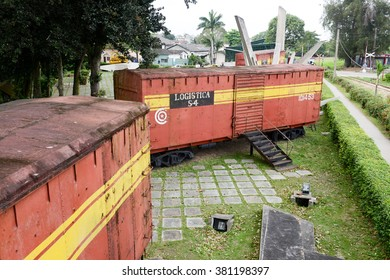 Santa Clara, Cuba - 17 january 2016: Memorial of train packed with government soldiers captured by Che Guevara's forces during the revolution of Cuba