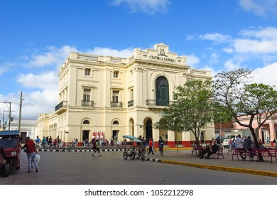 SANTA CLARA, CUBA - JANUARY 11, 2017: The Theater Caridad in Vidal Park. A national Monument of Cuba was built in 1885 and is one of The Eight Grand Theaters of the Cuban Colonial era. Santa Clara