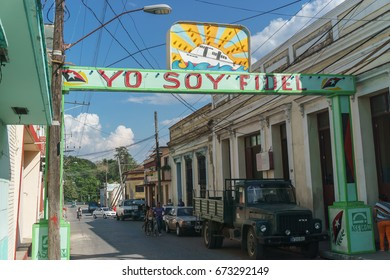 Santa Clara, Cuba, January 5, 2017: Political banner on street in Santa Clara, Cuba.