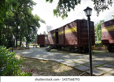 Santa Clara, Cuba - July 22, 2018: Monument to the Armoured Train Derailment. The historic action was led by Ernesto Che Guevara during the Battle of Santa Clara in 1958