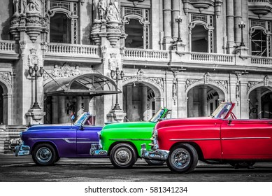 Santa Clara, Cuba - June 23, 2015: HDR - Streetlife with a american cabriolet classic car in series - partly colored - Serie Cuba Reportage