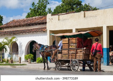 SANTA CLARA, CUBA - JUNE 25, 2015: Street trader on the street in the revolution city Santa Clara Cuba