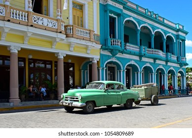 SANTA CLARA, CUBA - MARCH 4, 2018: Old classic American car on street of Santa Clara, CUBA. Old American cars are iconic sight of Cuba street.