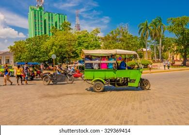 SANTA CLARA, CUBA - SEPTEMBER 08, 2015: Main plaza square, downtown in the capital city of the Cuban province of Villa Clara.