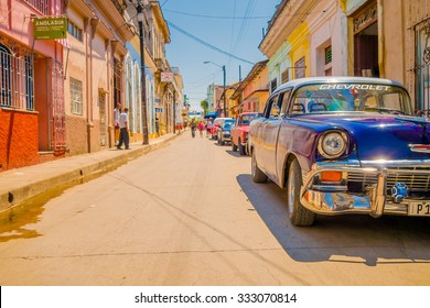 SANTA CLARA, CUBA - SEPTEMBER 08, 2015: typical street in Downtown of the capital city of the Cuban province of Villa Clara.