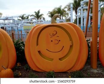 Santa Clara - October 23, 2010: Charlie Brown Pumpkin in garden at Great America Park.