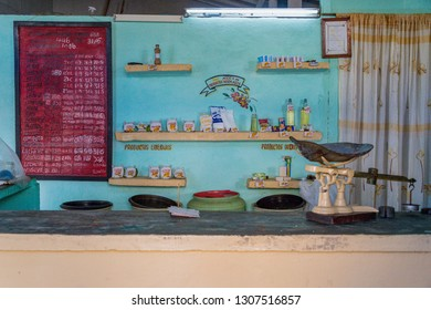 Santa Clara, Villa Clara, Cuba-January 27, 2019:Cuban government food subsidized grocery store. A message board with prices can be seen to the left. For years, these stores have provided  basic needs