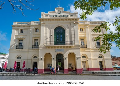 Santa Clara, Villa Clara, Cuba-January 5, 2019: Charity Theatre or Teatro de la Caridad facade. The theatre is  located in the parque Vidal.