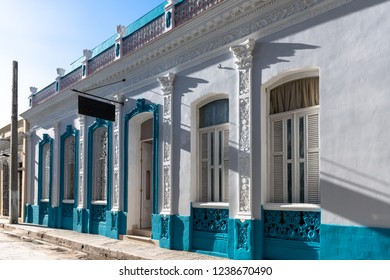 Santa Clara, Villa Clara, Cuba-November 3, 2018: Facade of the Hotel Floreale As it is the trend now, an old colonial building was revitalized and turned into a hotel in the city center.