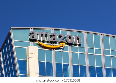 SANTA CLARA,CA/USA - FEBRUARY 1, 2014: Amazon building in Santa Clara, California.  Amazon is an American international electronic commerce company. It is the world's largest online retailer.