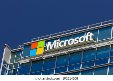 SANTA CLARA,CA/USA - MAY 11, 2014:  Microsoft corporate building in Santa Clara, California.  Microsoft is a multinational corporation that develops, supports and sells computer software and services.