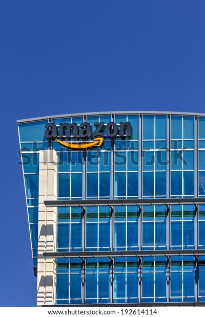 SANTA CLARA,CA/USA - MAY 11, 2014: Amazon building in Santa Clara, California.  Amazon is an American international electronic commerce company. It is the world's largest online retailer.