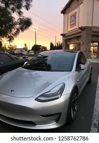 Santa Clarita - 14 Dec: A brand new Tesla electric car is parked outside an Aldi store in Santa Clarita, California  on 14 December 2018